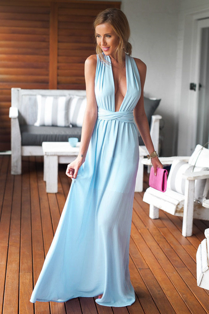 1102108390da Women Summer Sleeveless Long Club Dresses Evening Light Blue Black Perfect  Date Maxi Dress yx60138 Free Shipping-in Dresses from Women's Clothing on  ...