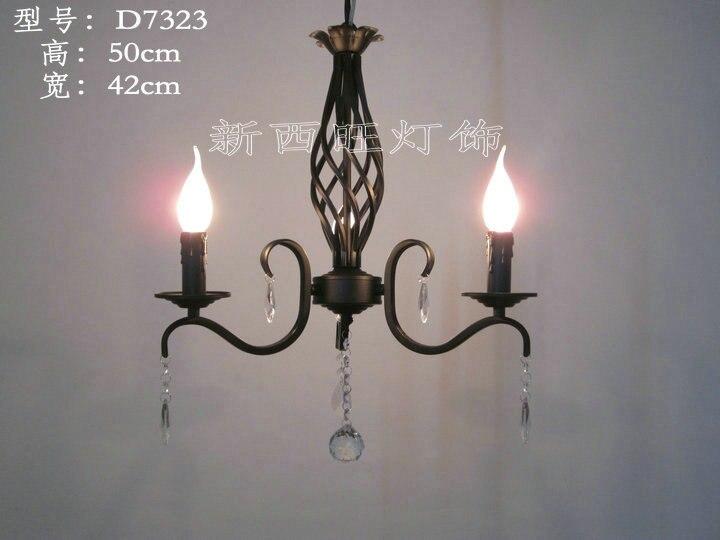 2 têtes E14 base Europe vintage en fer forgé pendentif lustres lampe en cristal