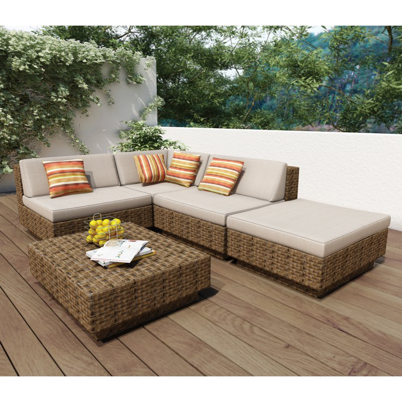 Fashion design rattan deep cushion lounge sofa set in