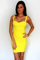 Women Candy Color Spaghetti Strap Bandage Bodycon Sexy Club Dress Rayon Sheath Party Dresses Drop Ship