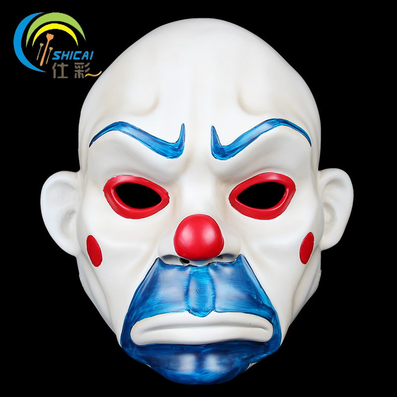 Batman Joker Clown Voleur de Banque De Résine Adultes Masques Halloween Film Vol de Banque Heath Ledger Jeu De Partie De Mascarade Soutiens Masque