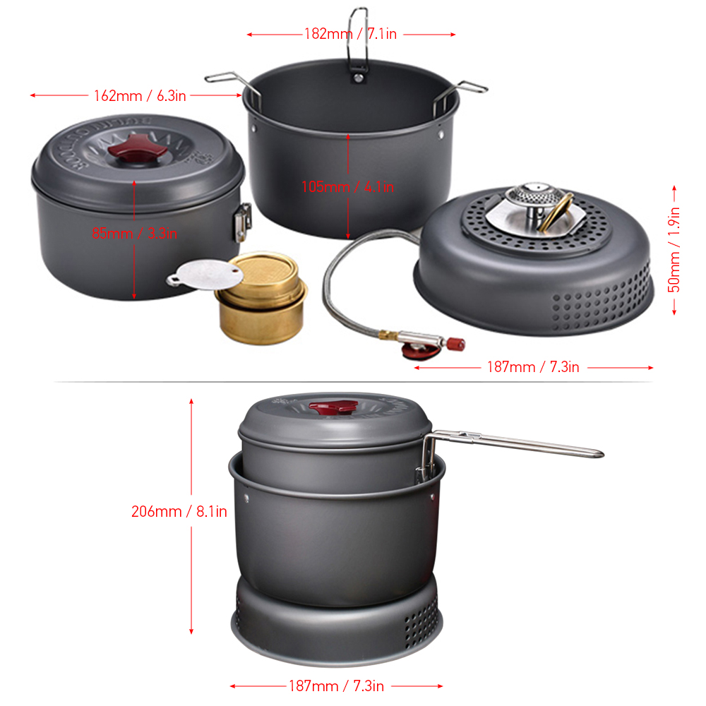 # 5PCS Outdoor Camping Cookware Set Cooking Sets Portable Camping Utensil Gas Alcohol Stove Windproof Boiler Pot Set 1-2 People# 5PCS Outdoor Camping Cookware Set Cooking Sets Portable Camping Utensil Gas Alcohol Stove Windproof Boiler Pot Set 1-2 People