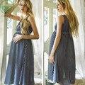 2017 New Fashion Chiffon Maternity Dresses  Striped Skirt For Pregnant Women V-Neck Sleeveless Maternity clothing  BB109