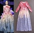 ALTA QUALIDADE 2015 Elie Saab Marca Runway Maxi Vestido Das Mulheres Doce de Manga longa Floral Impresso Festa de Celebridades vestido de Baile Longo vestido