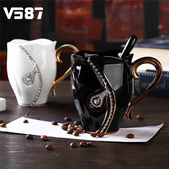 rhinestones coffee mug cup holder handgrip mugs home office coffee rh aliexpress com Coffee Cup Stand Coffee Cup Rack
