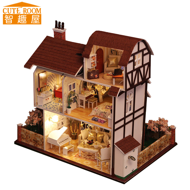 Assemble DIY Doll House Toy Wooden Miniatura Doll Houses Miniature Dollhouse Toys With Furniture LED Lights Birthday Gift K013