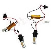 2Pcs 50W 7440 T20 42 LED 2835 Dual Color Switchback LED DRL Turn Signal Light Kit
