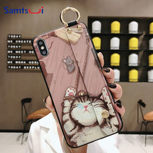 Samtsui Phone Case For IPhoneXR XSMAX XS Cute Cat Rabbit Iphone8 8P 7 6 6S Soft TPU Cover With Wrist Coque