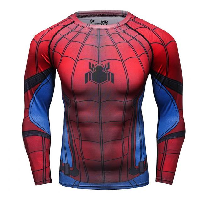 Fitness Compression Shirt Men Spiderman (red)