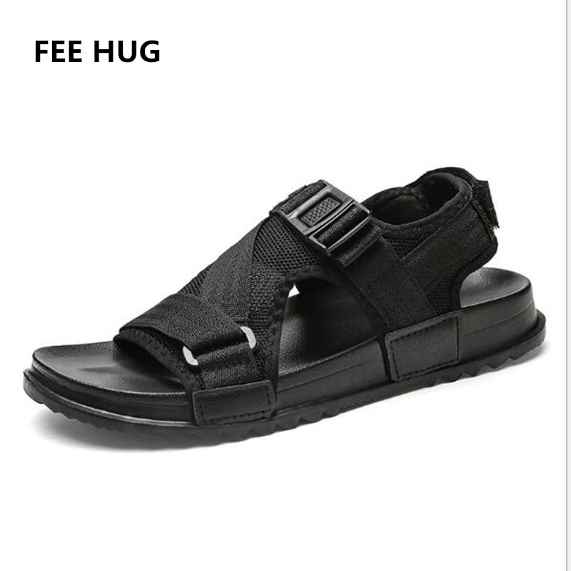 db4a8a20c9cde Detail Feedback Questions about FEE HUG Plus Size Men Flats Sandals Summer  Breathable Mesh Air Man Beach Sandals Gladiator Hook Loop Outdoor Shoes Flip  ...