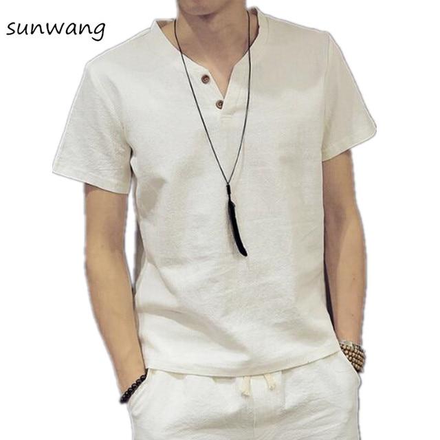 7a5446ea01d162 Mężczyzna Pulower Lniane Koszule Z Krótkim Rękawem Lato Oddychające Jakości  Koszule Slim fit Solidna Bawełna Koszule