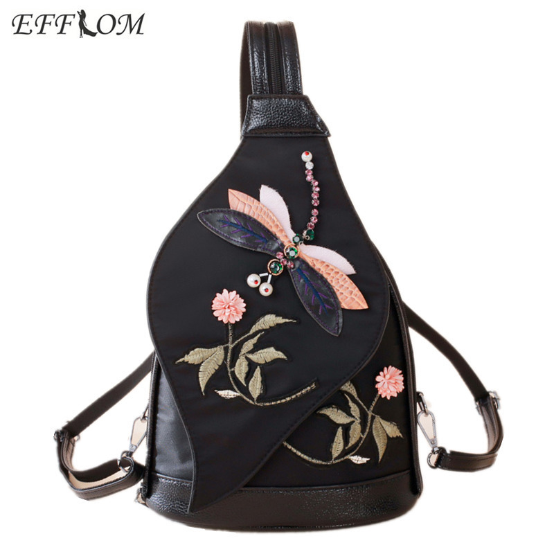 Style Design Vintage Canvas Backpack Embroidery Rhinestone Dragonfly Chest Bag Girls Mini Backpacks Women Backpack Small