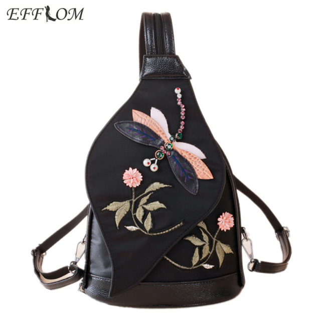 Style Design Vintage Canvas Backpack Embroidery Rhinestone Dragonfly Chest  Bag Girls Mini Backpacks Women Backpack Small Black add2db992b222