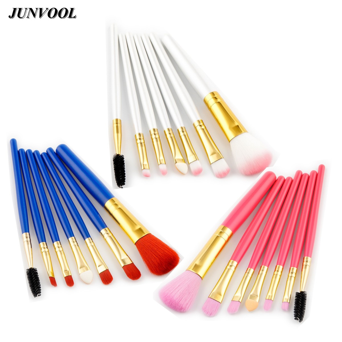Pro 7 PCS Eyes Makeup Brushes Set Tools Pink Foundation Make Up Toiletry Kit Blue Red Eyebrow Eye Shadow Brush Make Up Blush Set