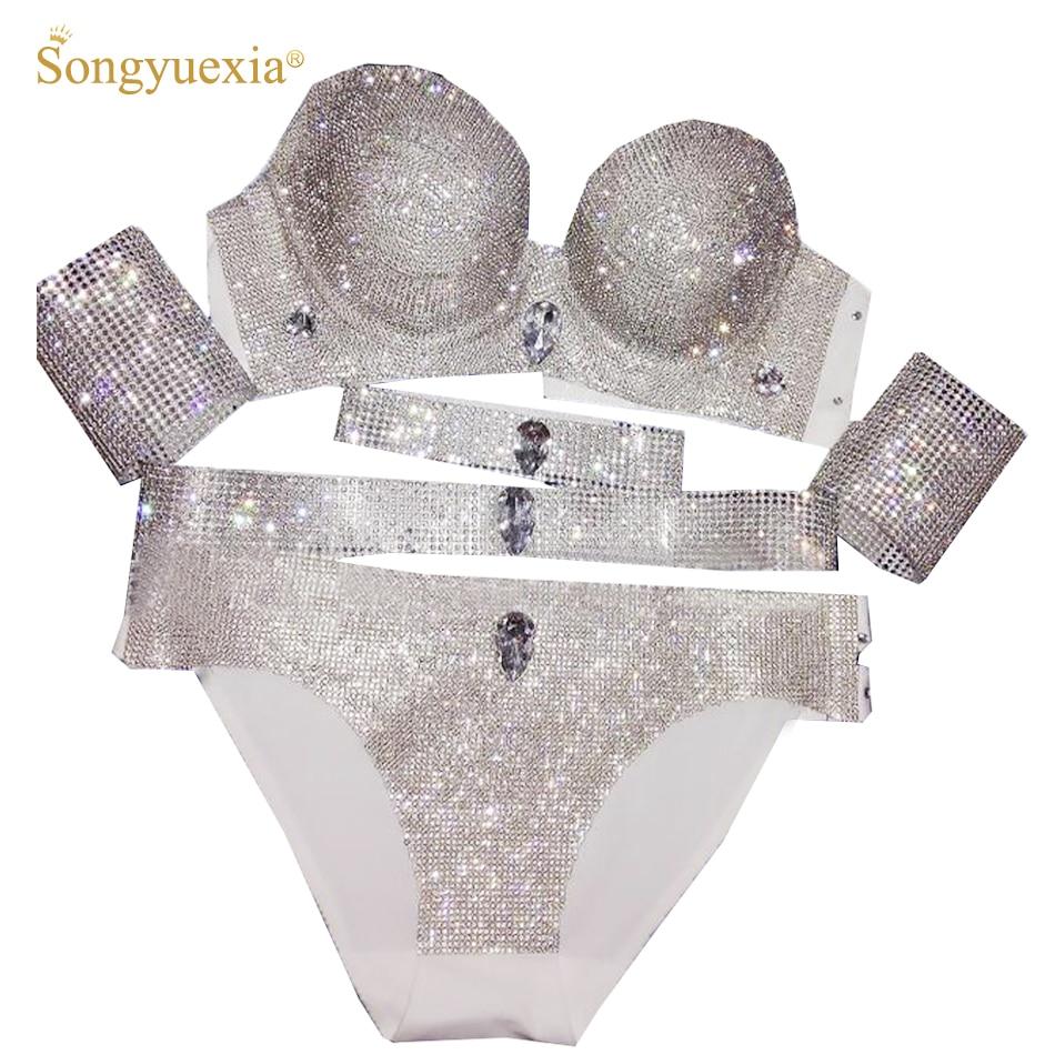 Sexy woman bikini Custom Show Bikini Rhinestone Sweep Gogo Performance Stage Bra Set Brace Underwear Pipe Dancing Dress in Chinese Folk Dance from Novelty Special Use