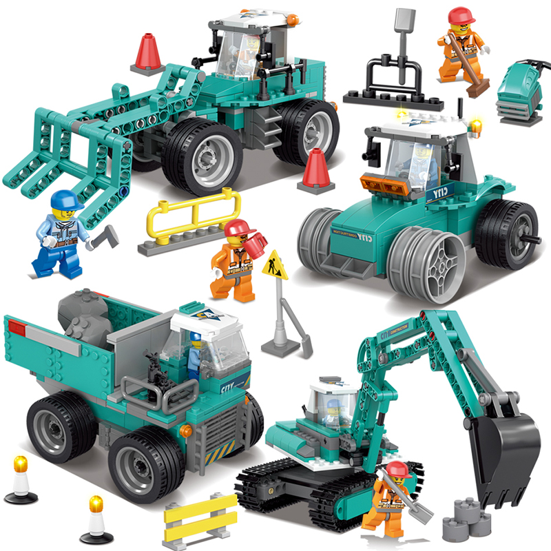 Construction excavator vehicles bulldozer Model Building Blocks Compatible legoe city Construction Enlighten Bricks Children Toy lego city great vehicles буксировщик автомобилей 60081