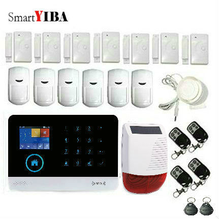 SmartYIBA Wireless Wifi GSM ANDROID IOS APP Touch Keypad RFID Home Security Alarm System Solar Power Siren APP Remote Control