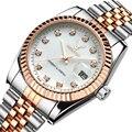Часы для мужчин и женщин  модные  роскошные  стальные  металлические  розовое золото