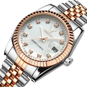 Famous Brand Fashion Luxury Steel Metal band ROSE GOLD Bracelet watch for Men and Women Gift Dress Watches relogio masculino(China)