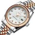 Reloj de pulsera de oro rosa con banda de Metal de acero de lujo de marca famosa para hombres y mujeres relojes de vestir de regalo reloj masculino