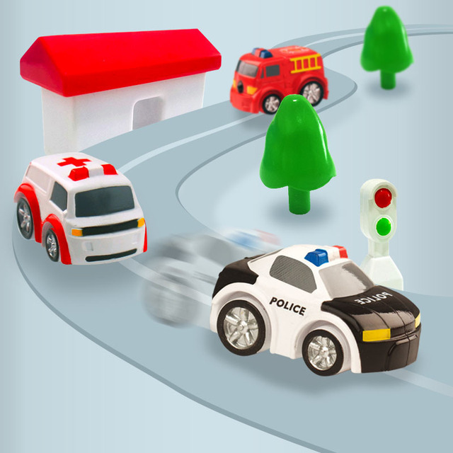 Manual Car Adventure Track Toys For Children Educational Rescue Vehicles Adventure Toys Parking Lot simulation Gift For Boy 4