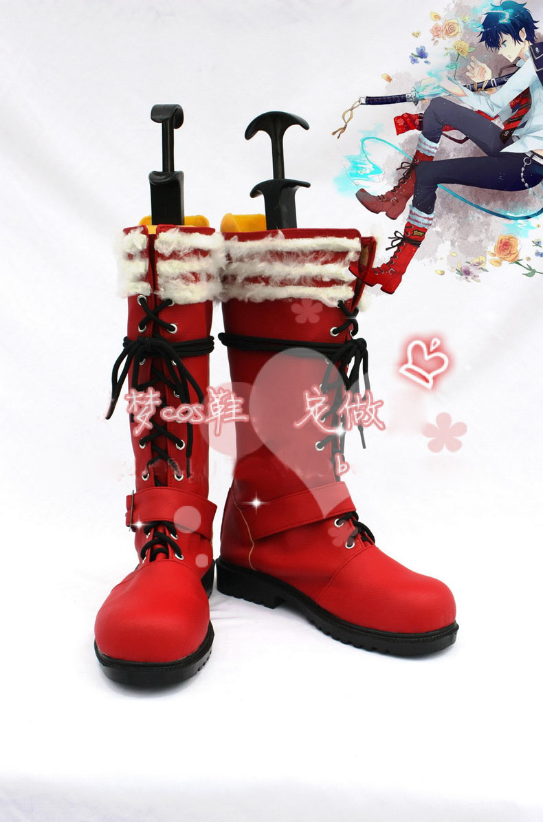 Anime Blue Exorcist Ao no Rin Okumura Boots Cosplay costume shoes Custom Made Halloween Free Shipping