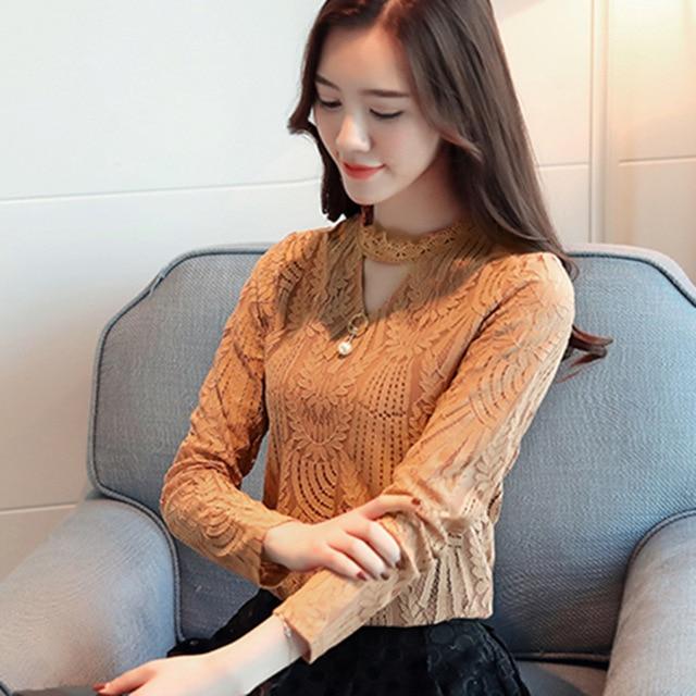 AiiaBestProducts Women Lace Blouse Long Sleeve