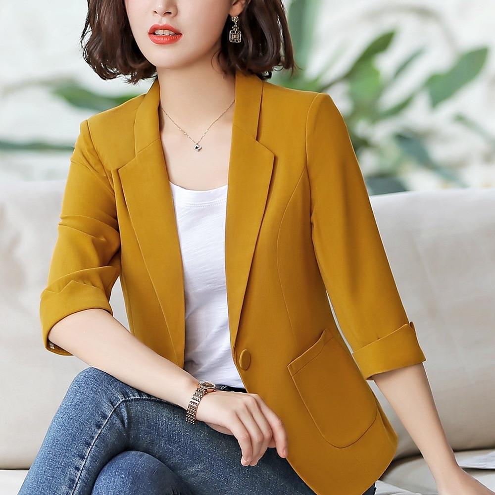Summer Work Clothes for Women Jacket Blazer 3 4 Sleeve Single Button Slim Waist 4XL Plus Size Feminino Blazer Office Wear 80881 in Blazers from Women 39 s Clothing