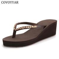 COVOYYAR טריז יוקרה להעיף יהלומים מלאכותיים צונח 2018 קיץ חוף בוהמיה אופנה סנדלי נשים נעלי נשים פלטפורמת גודל 40 WSS204