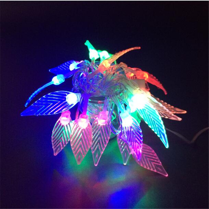4M 20LED changeable Leaf String Light Lamp AC220V Christmas Garden Holiday Festival party event Decoration garland Lights