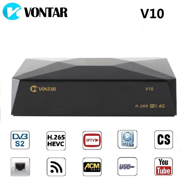 VONTAR V10 TV BOX H.265 DVB-S2 8PSK Digital Satellite Receiver Support cline Stalker Xtream Spain Portugal TP list Set top box