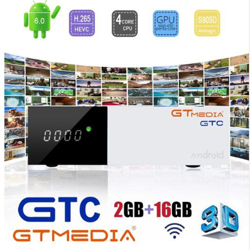 GTMedia GTC Satellite <font><b>TV</b></font> Receiver <font><b>DVB</b></font>-S2/C/<font><b>T2</b></font>/ISDB-T <font><b>Android</b></font> 6.0 Smart <font><b>TV</b></font> <font><b>Box</b></font> Amlogic S905D 2/16GB BT4.0 H.265 Decoder iptv m3u image
