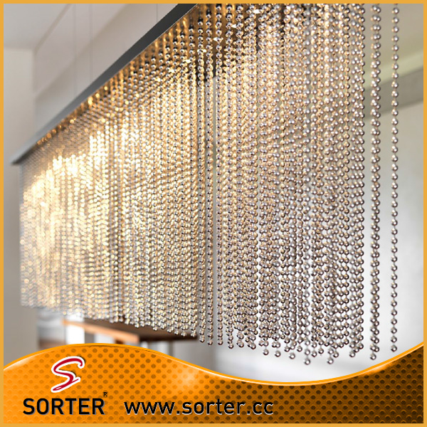 6mm Steel Alloy Silver Color Metal Ball Chain Curtain In