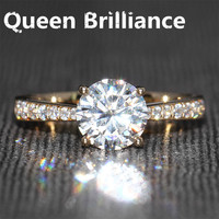 1 2 Carat Ct F Color Engagement Wedding Ring With Real Diamonds Accents Solid 14K 585