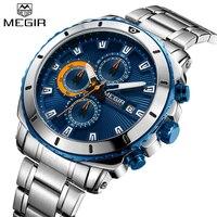 2018 MEGIR спортивные часы для мужчин Элитный бренд кварцевые наручные часы Дата хронограф водостойкий сталь ремень мужской Relogio Masculino