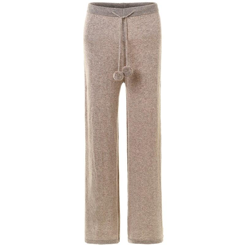 Inverno 2019 Super temperamento pantaloni di cashmere delle donne di lana lavorato a maglia della sfera del merletto pantaloni larghi del piedino delle donne pantaloni allentati caldi-in Leggings da Abbigliamento da donna su  Gruppo 1