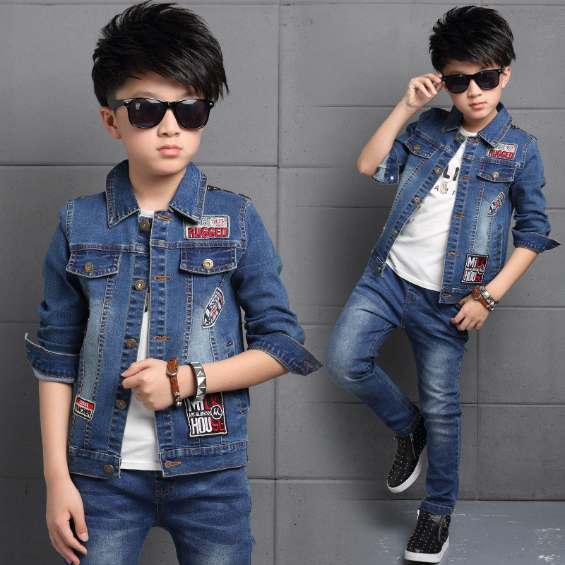 6a01b777f9d0a High Quality Boy Clothes 2017 Fashion Toddler Kids Clothes Spring Child  Denim Coat Jacket Jeans Pants 2 pcs Boys Clothing Set-in Clothing Sets from  Mother ...