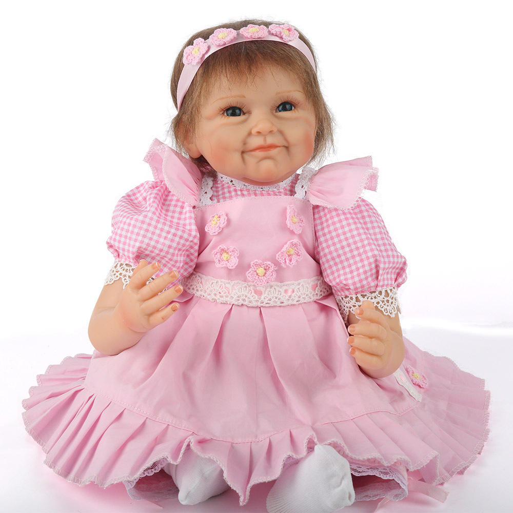 55 cm Silicone corps Reborn fille réaliste bébé poupée bricolage cheveux nouveau-né princesse enfant en bas âge jouet cadeau d'anniversaire