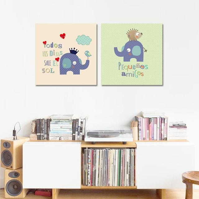 Elefante Pintura De La Lona sin marco 2 UNIDS Azul Cuadrícula de ...
