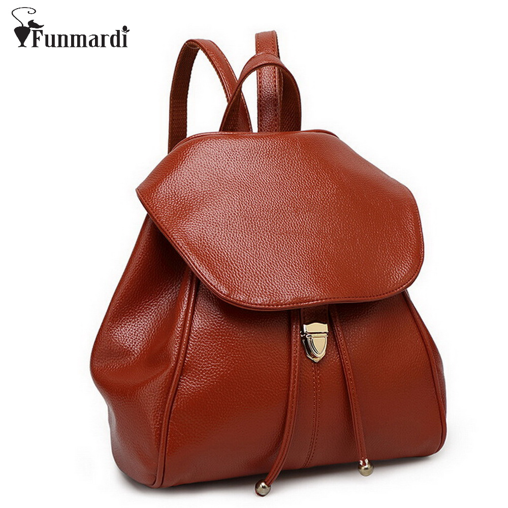 New arrival PU leather backpack simple design leather women bag fashion candy school bag multifunction travel