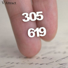 Area Code Pendientes Mujer Moda Personalized Old English Numbers Stud Earrings Women Custom Jewelry Save The Date Earring Gift