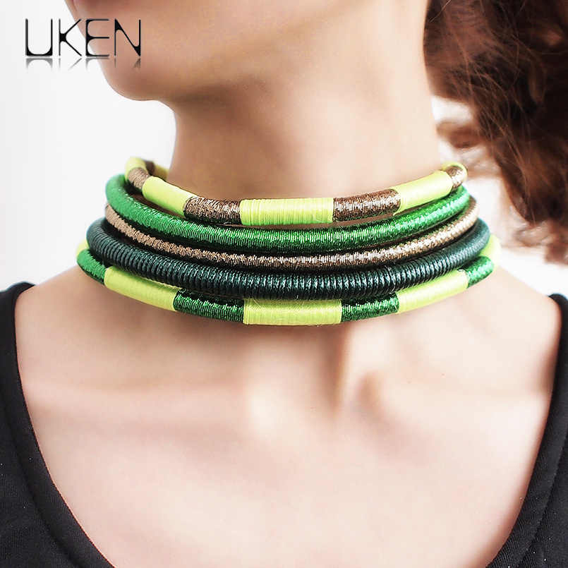 Bohemia Choker Necklace For Women Maxi Jewelry Rope Chain Collar Statement Necklaces Magnetic Fashion Accessories UKEN