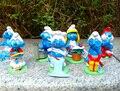 Alta Calidad Pitufina Clumsy Figuras, 8 unids por Juego, juguetes de los niños, elfos Papá figura para los niños
