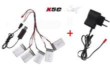 Syma X5C X5 X5SW X5SC  RC quadcopter 3.7V 500Mah Li-po Battery*5pcs +USB cable+5 in 1 charger cable +wall charger Free shipping
