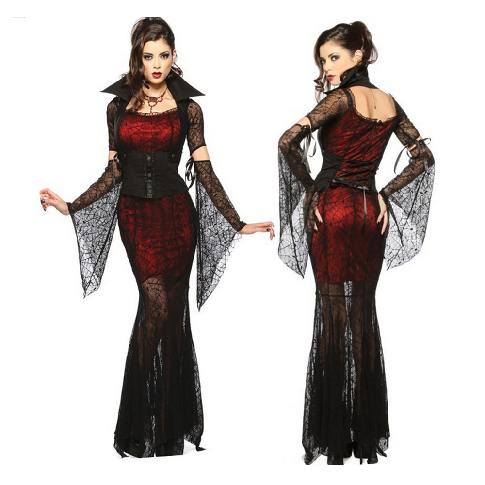 Transparent Lace Sexy Dress Wicca Witch Vampire Masquerade Party Halloween Cosplay Costume Adult Summer Dress