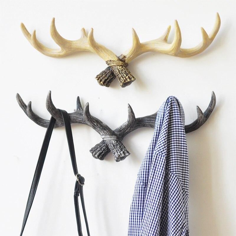 astas de los ciervos de la vendimia perchero ganchos de pared decorativos muebles de abrigo