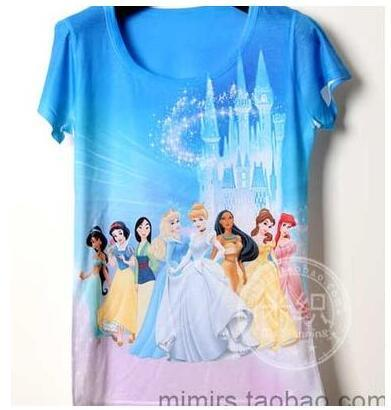 Cute princess party Children's clothes baby short sleeve T shirt printing cartoon boy and girl t shirts