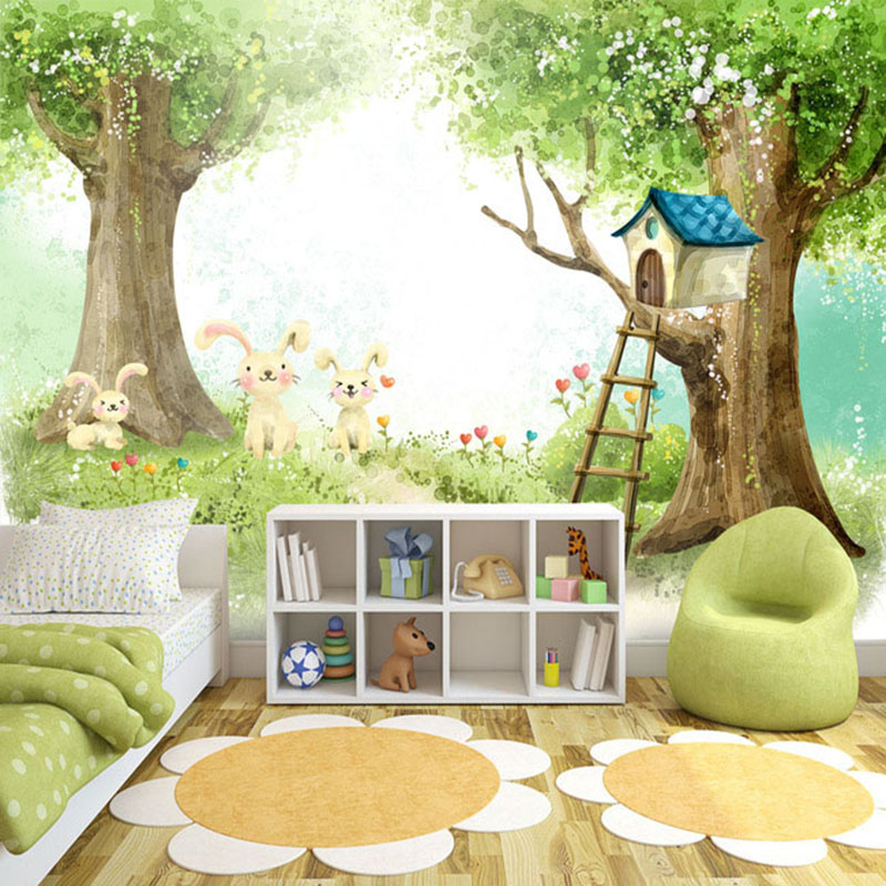 Photo Wallpaper 3D Cartoon Cute Children's Bedroom Background Wall Painting Eco-Friendly Plant Fiber Mural Wall Paper Home Decor