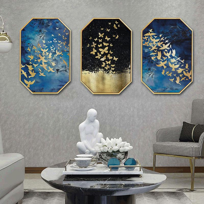 Creative INS HD gold foil fish perspective abstract home hotel hanging painting background wall restaurant decorative mural