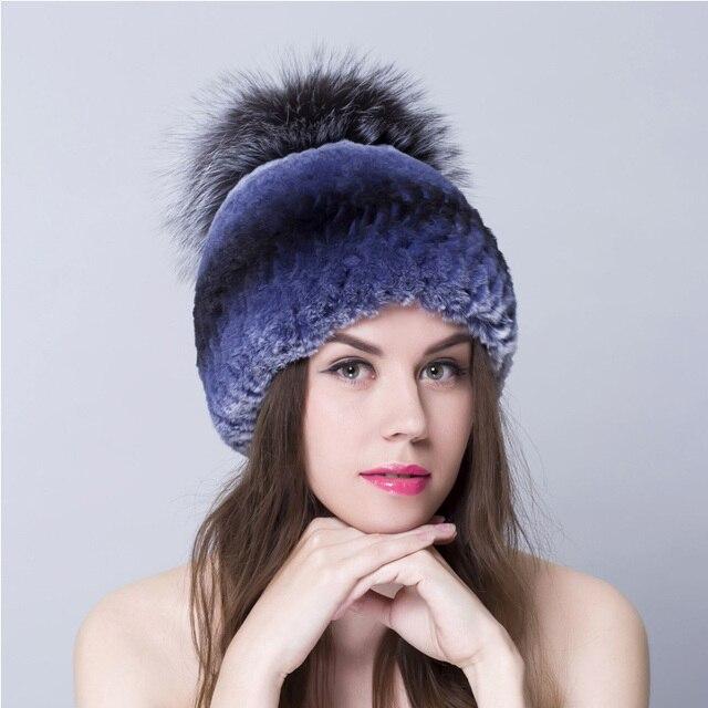Зима рекс кролика hat для женщин трикотажные шапочки меховые шапки женщины с fox мех топ 2016 новый бренд причинная хорошее качество caps